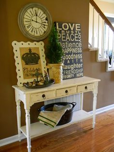 cute simple table for an entry or hallway