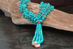 Native American Indian Santa Domingo NAVAJO Turquoise Necklace Jocla Pendant #NativeAmerican