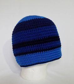 3e144cc1d54 Men s Blue Striped Beanie - Adult (22