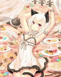 Anime girl, , cat girl, , cat ears, , cat tail, , sweets, , candy, , white hair, , cute, , neko