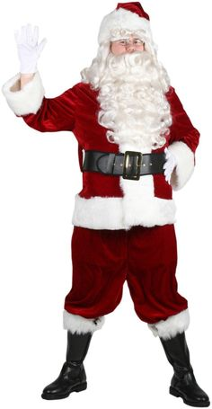 Christmas Xmas party Deluxe Crimson Santa Claus Suit Full Set Costume HC-030