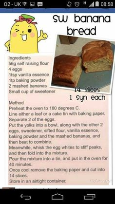 Slimming World Banana Bread astuce recette minceur girl world world recipes world snacks Slimming World Deserts, Slimming World Puddings, Slimming World Tips, Slimming Word, Slimming World Recipes Syn Free, Slimming Eats, Slimming World Banana Cake, Banana Bread Ingredients, Sw Meals