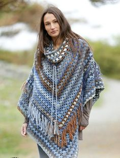 by Drops Design  I haven't crocheted a single poncho in my life although it is an entertaining idea since I am keen on ponchos, so making one in the future is not excluded. I had one sewn actually wha