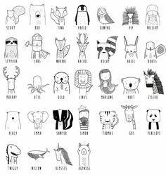 Get to know the wild Modern dress for hip kids - tiere zeichnen - Happy Baby Doodle Drawings, Easy Drawings, Doodle Art, Pencil Drawings, Simple Animal Drawings, Sharpie Drawings, Tier Doodles, Animal Doodles, Modern Outfits