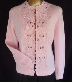 Vintage 50s Hand Beaded Pink Cardigan Sweater with Embroidered Cutwork Angora Blend - Size S to M  Ruby Lane www.rubylane.com #RubyLane #vintagecardigan
