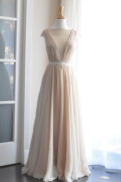Smoked Peach-City Beach Bride-Custom V neck A-line Lace Chiffon wedding dress gown. $950.00, via Etsy.