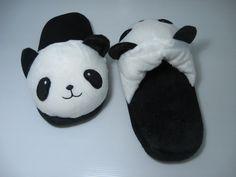 Cute Panda House shoes, Kawaii shoes, Cute shoes, plushies, house shoes, home shoes, flats, wool slippers, panda bear