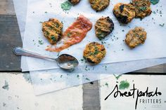 "Lunch Lovin': Sweet Potato Fritters Recipe | Move Nourish Believe - Hehe what IS a fritter anyway? Here in Texas we hear it all the time… I love the definition they found on a good ol' fashioned Google search… ""divide something into small pieces"" ;)"