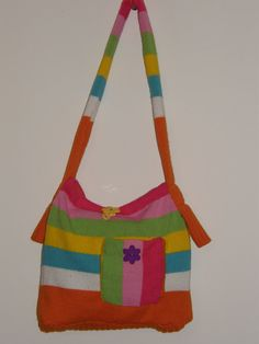 Bright Spring Colored Shoulder bag ! Recycled from a Sweater !!