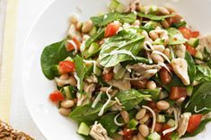 This isn't your typical spinach salad! Made with white beans, tuna, tomatoes, cucumbers and mozzarella cheese, this fresh tossed salad is perfect for a quick lunch or a light supper. Healthy Living Recipes, Clean Eating Recipes, Healthy Eating, Cooking Recipes, Fun Recipes, What's Cooking, Diabetic Recipes, Healthy Foods, Diet Recipes