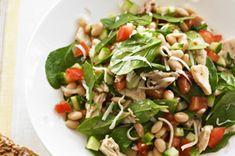 Salade aux haricots blancs, au thon et aux épinards