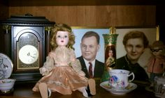 Teacups, and my Mom's Toni home permanent and Ginny dolls.