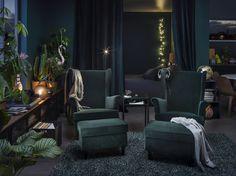 STRANDMON oorfauteuil | IKEA IKEAnl IKEAnederland nieuw inspiratie wooninspiratie interieur wooninterieur kamer woonkamer stoel fauteuil groen poef meubel meubels