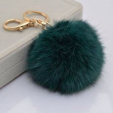 18 K Gold Plated Keychain with Plush Cute Genuine Rabbit Fur Key Chain for Car Key Ring or Bags 0025 (blue green)