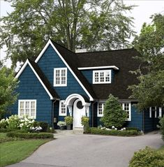 Better Homes and Gardens - My Color Finder Siding: Deep Blue/Green, Trim & Door:  White