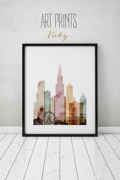 Chicago watercolor print, watercolor poster, Wall art, Chicago skyline, cities poster, typography art, digital watercolor, ART PRINTS VICKY.