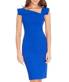 Royal blue asymmetric collar dress Sale - Goddiva Sale