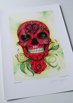 Red Rose Tattoo Skull  Day of the Dead Art  by OctaviaTattoo, £4.99