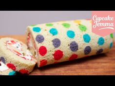 How to make a Rainbow Polka Dot Swiss Roll | Cupcake Jemma - YouTube