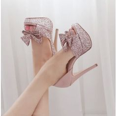 How about this shoe?  Share to get a coupon for all on FSJ Pink Sparkly Wedding Heels Peep Toe Stilettos Platform Pumps with Bow