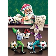 Santa Soccer Christmas List Card. Santa Soccer Christmas List Card. Let everyone on your Christmas card list know just how much you love soccer. Boxed set of 10 cards and envelopes. Inside message: Have a Great SeasonMade in USA.. Price: $12.99