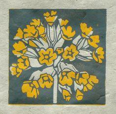 Cowslip mini linocut print
