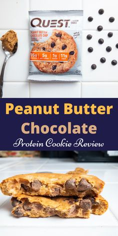 Peanut Butter Chocolate Protein Cookie Review. Reviewing the new Quest Nutrition protein cookie. It is a low sugar cookie that makes for a great on the go breakfast, healthy snack, or high protein dessert. Quest makes the best protein bars you can buy. A delicious and easy peanut butter chocolate cookie. You can make a ton of Quest protein recipes with this cookie. #proteincookie #quest #questnutrition #bestproteinbars ##questproteinrecipes #healthysnack #highproteindessert #onthegobreakfast Low Sugar Cookies, Chocolate Peanut Butter Cookies, Chocolate Protein, High Protein Desserts, Protein Foods, Quest Protein, Protein Recipes, Protein Cookie Recipe, Protein Cookies
