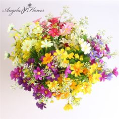 One Bouquet 7 branch 28 heads cute silk daisy artificial decorative flower wedding flower bouquet home room table decoration  Price: 2.04 USD
