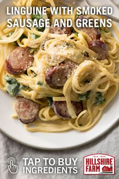 Buy the ingredients for this exquisite linguine featuring Hillshire Farm® Smoked Sausage, chopped spinach and parmesan cheese.