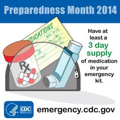 Include medication and medical supplies in your emergency kit that can been used if you have to evacuate or shelter in place.