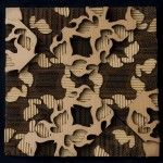 layered cardboard cutouts over a solid corrugated panel - Fab!
