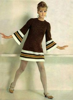 Vintage Fashion Model in a brown knit dress, - Vintage Outfits, Retro Outfits, Vintage Dresses, Vintage Clothing, Stylish Outfits, Vintage Chic, Vintage Mode, Retro Vintage, 60s And 70s Fashion