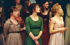 Claudie Blakley as Charlotte Lucas, Keira Knightley as Elizabeth Bennet and Rosamund Pike as Jane Bennet in Pride and Prejudice (2005).