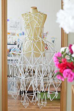 Paper himmeli dress by Kerttu Siplane