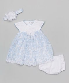 Blue Lace Babydoll Dress Set - Infant