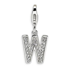 925 Sterling Silver CZ Letter Q w//Lobster Clasp Charm