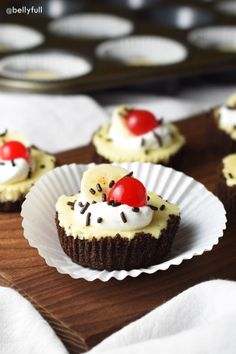 Classic banana split flavors and your favorite cheesecake come together here in single servings. So delicious and fun!