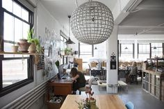 Eclectic and modern light fixture in Coral & Tusk's studio