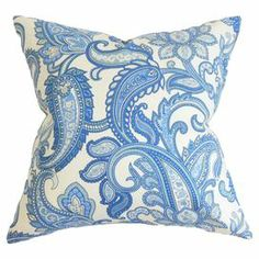 """Made in Boston, Massachusetts, this lovely cotton pillow showcases a paisley motif for classic style with a touch of bohemian appeal.   Product: PillowConstruction Material: Cotton cover and 95/5 down fillColor: Blue and whiteFeatures:  Insert includedHidden zipper closure  Made in Boston  Dimensions: 18"""" x 18""""Cleaning and Care: Spot clean"""