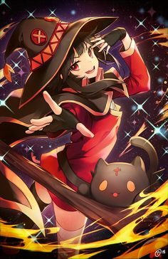 Megumin and Megumin Explosion related things Mago Anime, Konosuba Anime, Chica Anime Manga, Anime Chibi, Manga Girl, Anime Art, Radukai Kishi No Cavalry, Kawaii Anime Girl, Anime Girls