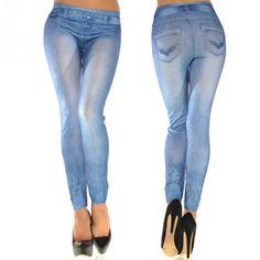 2017 hot selling women's printed slim high elastic jeggings fake jeans girls leggings with 2 pockets causal fasion leggins