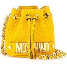 Moschino Small Logo Drawstring Shoulder Bag (€755) ❤ liked on Polyvore featuring bags, handbags, shoulder bags, purses, yellow, drawstring shoulder bag, moschino, quilted purse, woven handbag and drawstring purse
