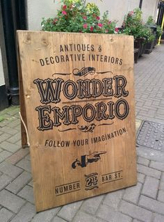 Rustic #SandwichBoard #Sign for The Wonder Emporio on ‪#‎BarStreet‬ in ‪#‎Scarborough‬ UK.
