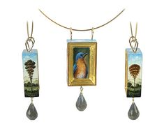 Bluebird pendant by artist Christina Goodman. delicate and beautifully painted. These small objects, paintings and wearable miniatures are hand painted using extremely fine brushes and a magnifier. Each piece is built out of wood or cast resin, gilded with 22k gold leaf then individually painted in acrylics. The work is inspired by Renaissance painting and frames, trompe l'oeil, manuscript illumination, and all things miniature. .see more...   http://christinagoodman.com/index.html