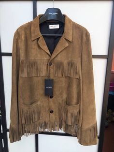7d671dd68664 New- Classic Curtis Cognac Suede Fringed Jacket 54