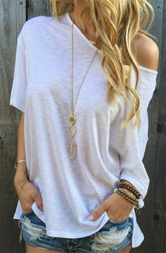 Casual Loose-Fitting Solid Color T-Shirt