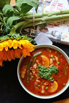 Soup au Pistou: a hearty French peasant meal (vegan). Vegan Soups, Vegan Vegetarian, Vegetarian Recipes, Healthy Recipes, Healthy Meals, Healthy Food, Soup Recipes, Whole Food Recipes, Cooking Recipes