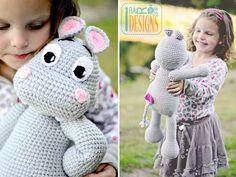 PATTERN Happy Hippo the Hippopotamus Amigurumi Toy, Stuffed Animal, Crochet Pattern in PDF