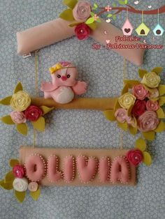 Felt Crafts, Diy And Crafts, Bear Felt, Name Banners, Felt Dolls, Balloon Decorations, Baby Sewing, 30th Birthday, Mobiles