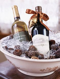 Drinks: Wine is a must! Cute idea to put pinecones in the ice to continue the theme.
